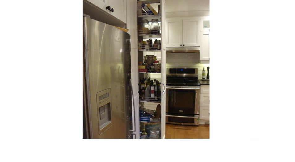 Optimization of small spaces, sliding cupboard in the kitchen